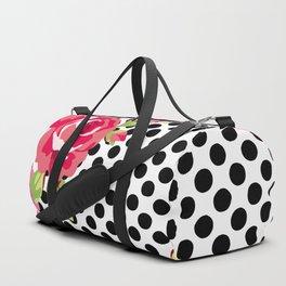 Roses on black dots Duffle Bag