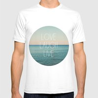 Love Laugh Live #2 MEDIUM White Mens Fitted Tee