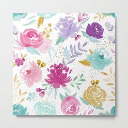 Glitter Watercolor Floral Metal Print