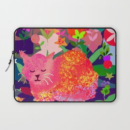 Sleeping Cat with Abstract Background Laptop Sleeve
