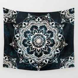 Glowing Spirit Mandala Blue White Wall Tapestry