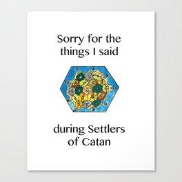 Catan, Settlers of Catan, Board Game, Geek Art, Nerd Art Canvas Print