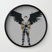 castiel Wall Clocks featuring Castiel by Rebecca McGoran