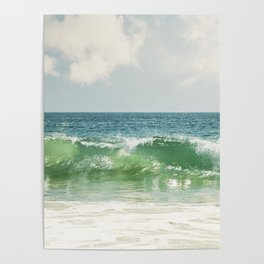 Ocean Sea Landscape Photography, Seascape Waves, Blue Green Wave Photograph Poster