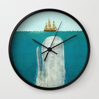 black and gold Wall Clocks featuring The Whale  by Terry Fan