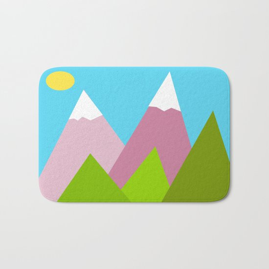 Pines and Pink Mountains Bath Mat
