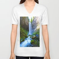 waterfall V-neck T-shirts featuring Waterfall by 2sweet4words Designs