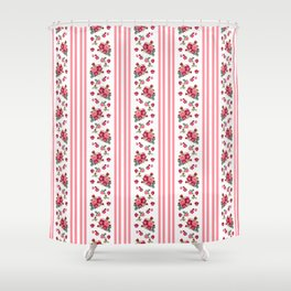 Vintage Floral Stripes - Coral Rose Shower Curtain