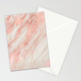 Desert Rose Gold Pink Marble Stationery Cards