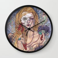 gemma correll Wall Clocks featuring Lady by Gemma Pallat by ToraSumi