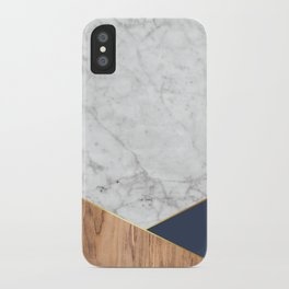 White Marble - Wood & Navy #599 iPhone Case