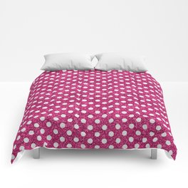 Modern abstract magenta white faux glitter polka dots Comforters
