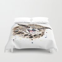 owl Duvet Covers featuring Owl by Anna Shell