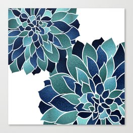 Festive, Floral Prints, Navy Blue and Teal on White Canvas Print
