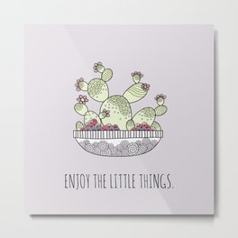 Enjoy the Little Things Lilac Metal Print