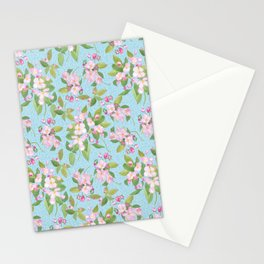 Pink Apple Blossom on Sky Blue Leafy Background Stationery Cards