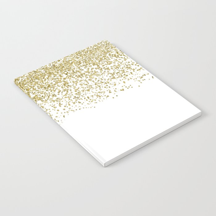 Sparkling gold glitter confetti on simple white background- Pattern Notebook