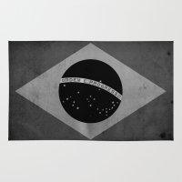 brasil Area & Throw Rugs featuring Brasil - Black&White by NicoWriter