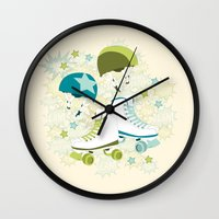 roller derby Wall Clocks featuring Roller Derby Rumble by Wild Notions