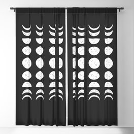 Moon Phases ( Black & White ) Blackout Curtain