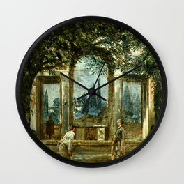 "Diego Velázquez ""View of the Garden of the Villa Medici in Rome (The Sleeping Ariadne)"" Wall Clock"