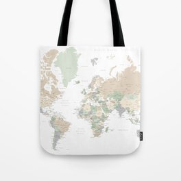 "World map with cities, ""Anouk"" Tote Bag"