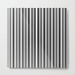 Midnight Black and White Vertical Sailor Stripes Metal Print