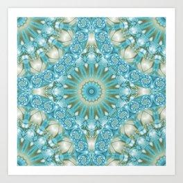 Turquoise and Gold Mandala Tile Art Print