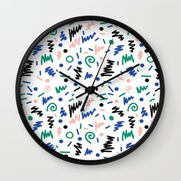Lainie - 80s, 90s, revival, memphis, design, bright, print, grid, black and white Wall Clock