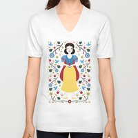 snow white V-neck T-shirts featuring Snow White  by Carly Watts
