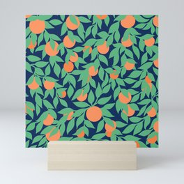Oranges and Leaves Pattern - Navy Blue Mini Art Print