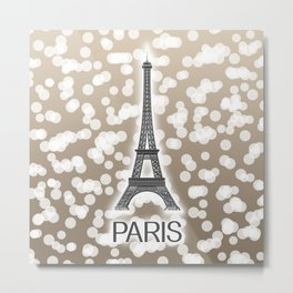 Paris: City of Light, Eiffel Tower (Beige) Metal Print