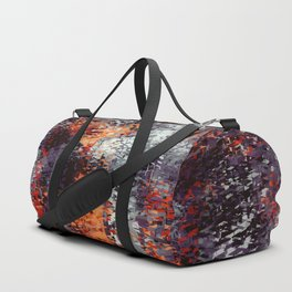 psychedelic geometric polygon shape pattern abstract in black orange brown red Duffle Bag