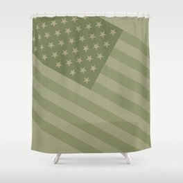 Camo Stars and Stripes – USA Flag in Military Camouflage Colors [FalseFlag 1] Shower Curtain