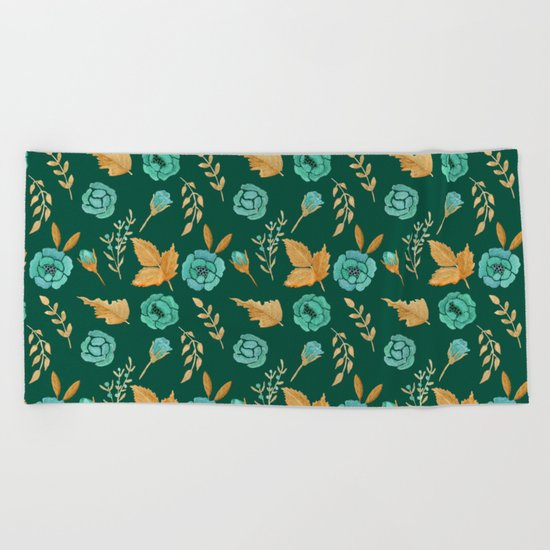 Watercolor floral turqiouse roses print Beach Towel
