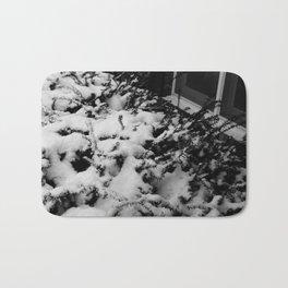 Black and white Snowed Bushes Bath Mat