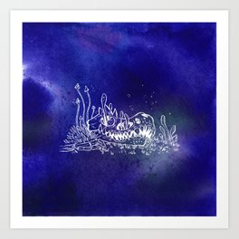 Dino skull – Blue Art Print