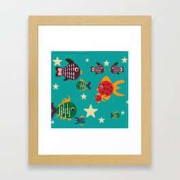 Cute retro fish Framed Art Print
