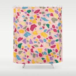 Peachy Texta Terrazzo Shower Curtain