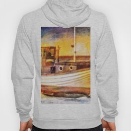 Boat Sunset Beach Painting Hoody