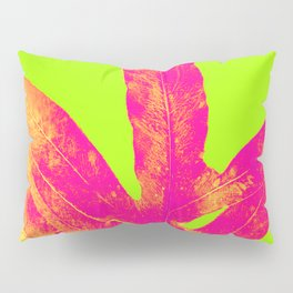 Green and Ultra Bright Coral Fern Pillow Sham