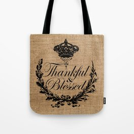 french country jubilee crown thanksgiving fall wreath beige burlap thankful and blessed Tote Bag