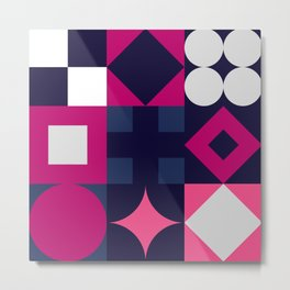 Geometric Pink/Blue/White Metal Print
