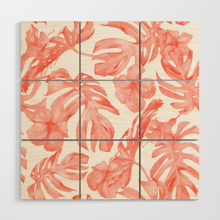 Tropical Hibiscus and Palm Leaves Dark Coral White Wood Wall Art by ...