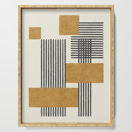 Stripes and Square Composition - Abstract Serving Tray