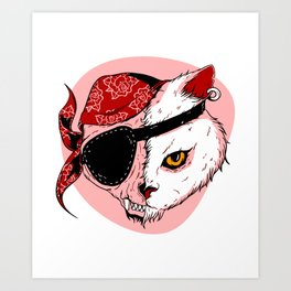Pirate Cat Cartoon Pet Art In Red Animal Lover Design Art Print