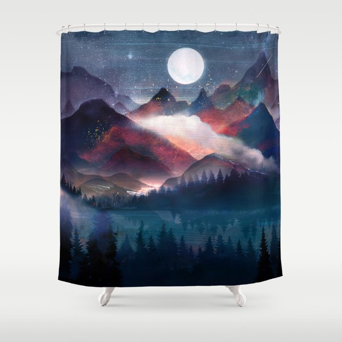 Mountain Lake Under the Stars Shower Curtain