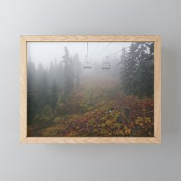 Foggy mountains fall morning Framed Mini Art Print