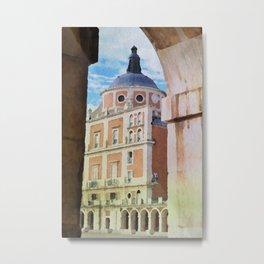 Aranjuez royal castle in watercolor Metal Print