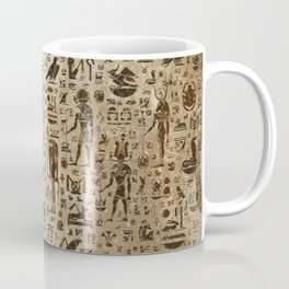 Ancient Egyptian Gods and hieroglyphs - Vintage and gold Coffee Mug